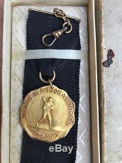 Vintage Baseball 1920's WRIGHT & DITSON VICTOR Gold Filled Trophy Medal WithBox