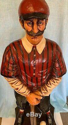 Vintage Baseball Player Bat Thermometer Statue Aprox 42 Tall