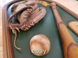 Vintage Baseball Wall Hanger Plaque Decor WithBall Bat Glove & Thermometer 16 X 32