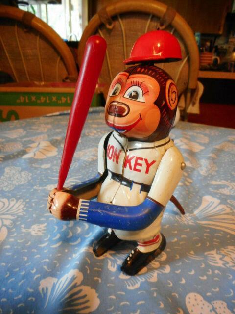Vintage Bat Swinging Tin Wind Up Baseball Monkey Toy Sy Japan 50s
