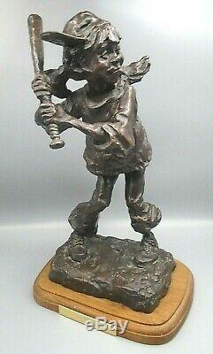 Vintage Gary Schildt Bronze Sculpture At Bat Bronze Statue Signed Number 21/35