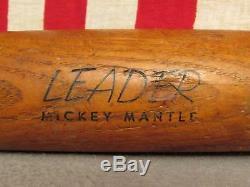 Vintage Hillerich & Bradsby Leader Wood Baseball Bat No9 Mickey Mantle Model 35