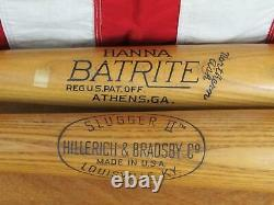 Vintage Jackie Robinson Model Baseball Bat Pair Louisville Slugger Hanna Batrite