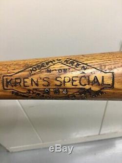 Vintage Joseph Kren Krens Special Wood Baseball Cesil Frank TM 33 Syracuse, NY