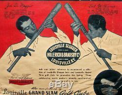 Vintage LOUISVILLE SLUGGER Baseball BATS JOE DiMAGGIO TED WILLIAMS Paper SIGN
