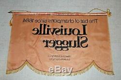 Vintage Louisville Slugger 45X29 Banner Sign great for displaying Baseball Bats