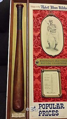 Vintage Pabst Blue Ribbon Beer Sign! Baseball's Old Time Batting Champions Nice