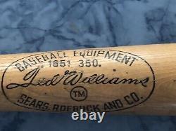 Vintage, Rare, HOF Ted Williams Wood Baseball Bat Personal Model 35 Unbroken