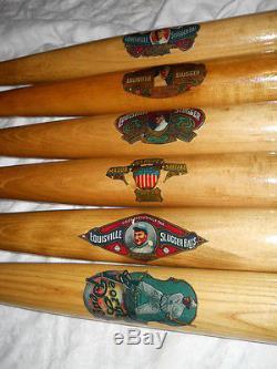 Vintage baseball bat decal replica set of 6
