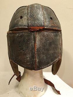 Vintage leather football helmet Early 1900s Honus Wagner Baseball Bat Stamp