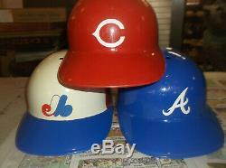 Vintage lot 17 major league baseball full size plastic batting helmets 1970s