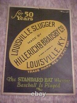 Vintage louisville slugger hillerich & bradsby baseball bat adv sign kentucky