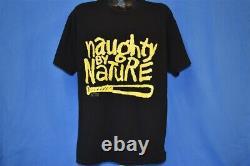 Vtg 90s NAUGHTY BY NATURE O. P. P. 1991 HIP HOP BASEBALL BAT RAP TEES t-shirt XL