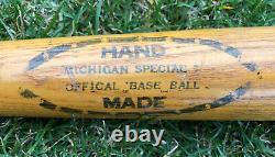 Vtg Early Michigan Special Official Base Ball Hand Made Baseball Bat 29 Rare
