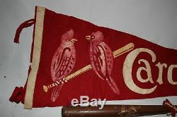 Vtg St Louis Cardinals Pennant Baseball with Souvenir Bat